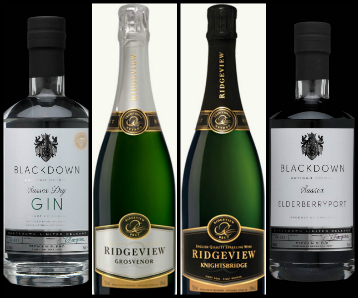 English gin, wines and port